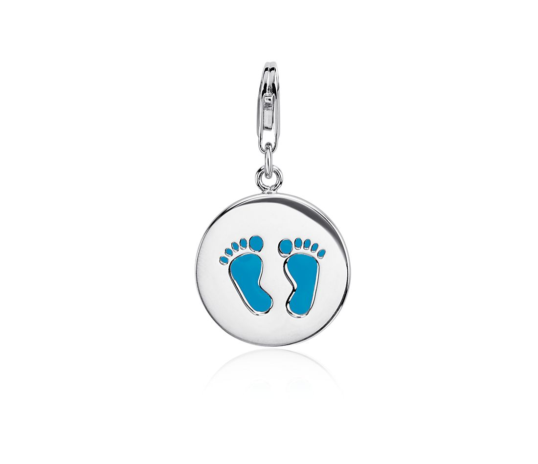Blue Foot Print Charm in Sterling Silver
