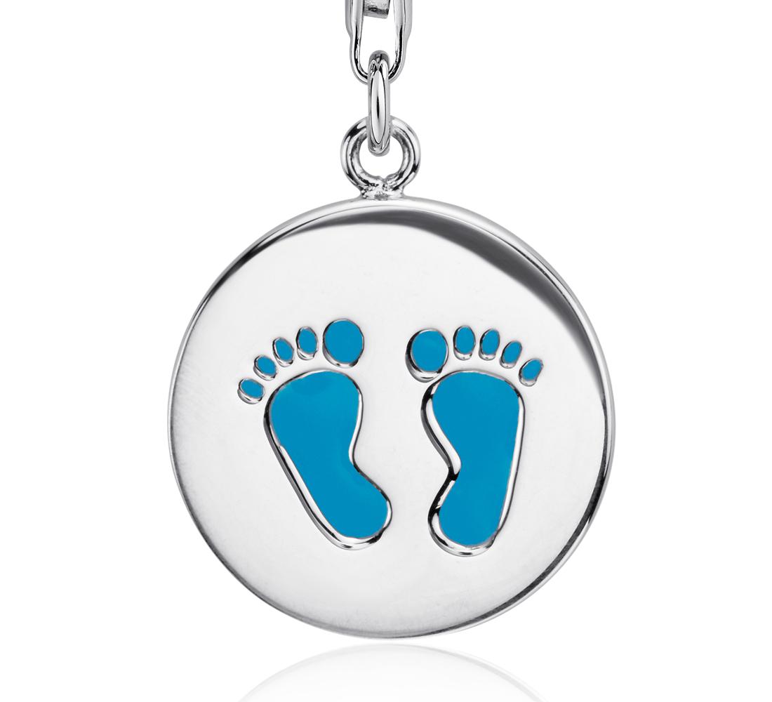 Dije en forma de huella de pie azul en plata de ley