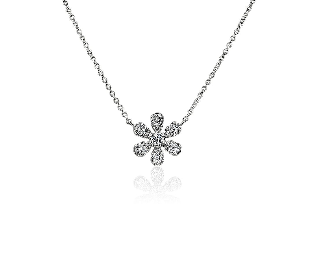 Blue Lily of the Nile Necklace in 18k White Gold (1/4 ctw.)