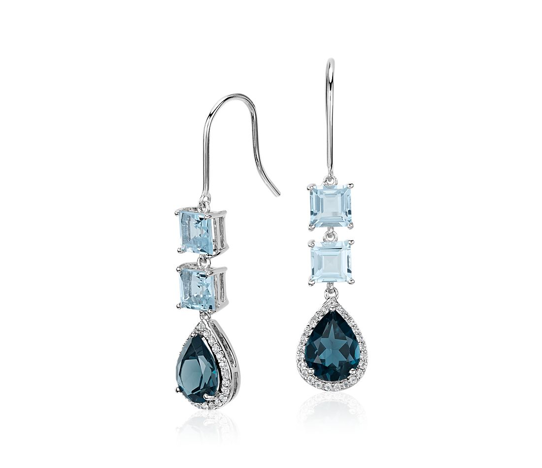 Blue Topaz and London Blue Topaz Teardrop Earrings in Sterling Silver (9x7mm)