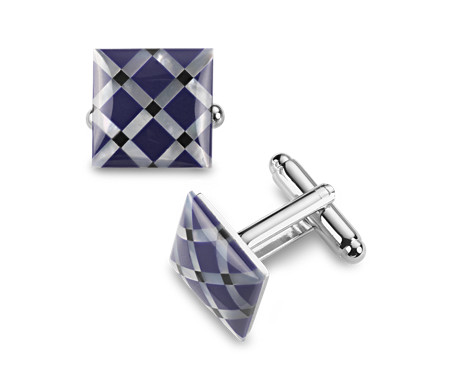 Blue Mother of Pearl Cuff Links in Stainless Steel