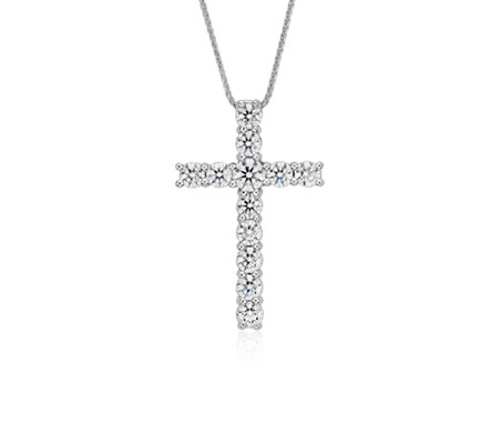 Blue Nile Signature Diamond Cross Pendant in Platinum