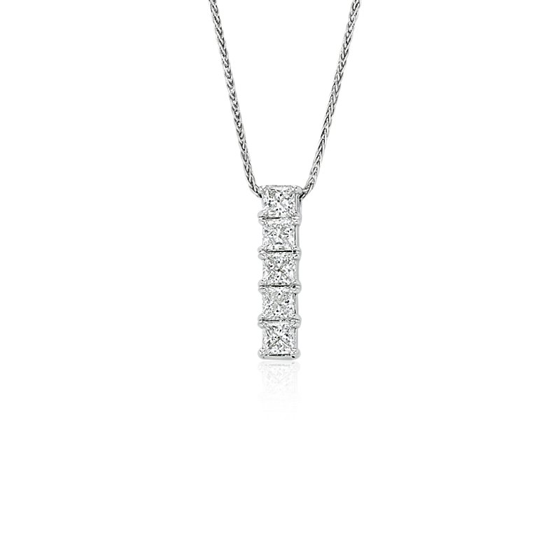 Blue Nile Signature Five-Stone Princess-Cut Diamond Pendant in Pl