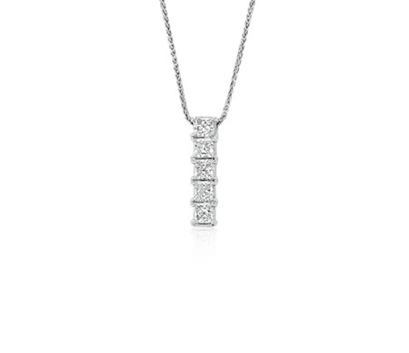 Blue Nile Signature Five-Stone Princess-Cut Diamond Pendant in Platinum (3/4 ct. tw.)