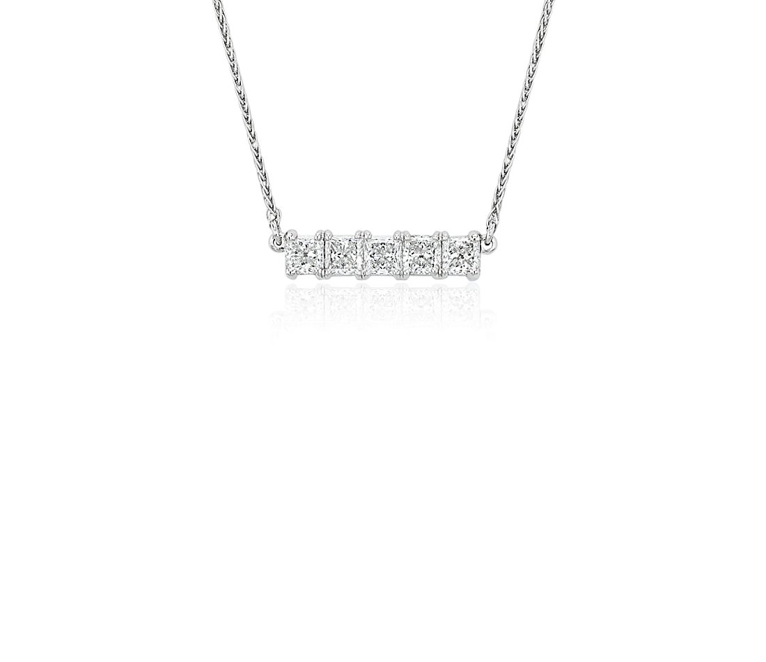 Blue Nile Signature Five-Stone Princess-Cut Diamond Bar Pendant in Platinum (3/4 ct. tw.)