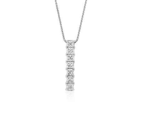 Blue Nile Signature Seven-Stone Princess-Cut Diamond Pendant in Platinum (1 ct. tw.)