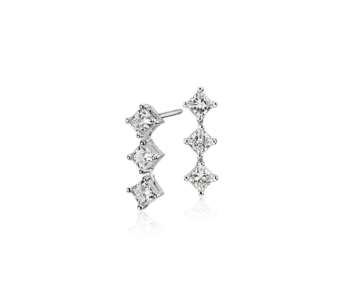Blue Nile Signature Diamond Three-Stone Earrings in Platinum (1 ct. tw.)