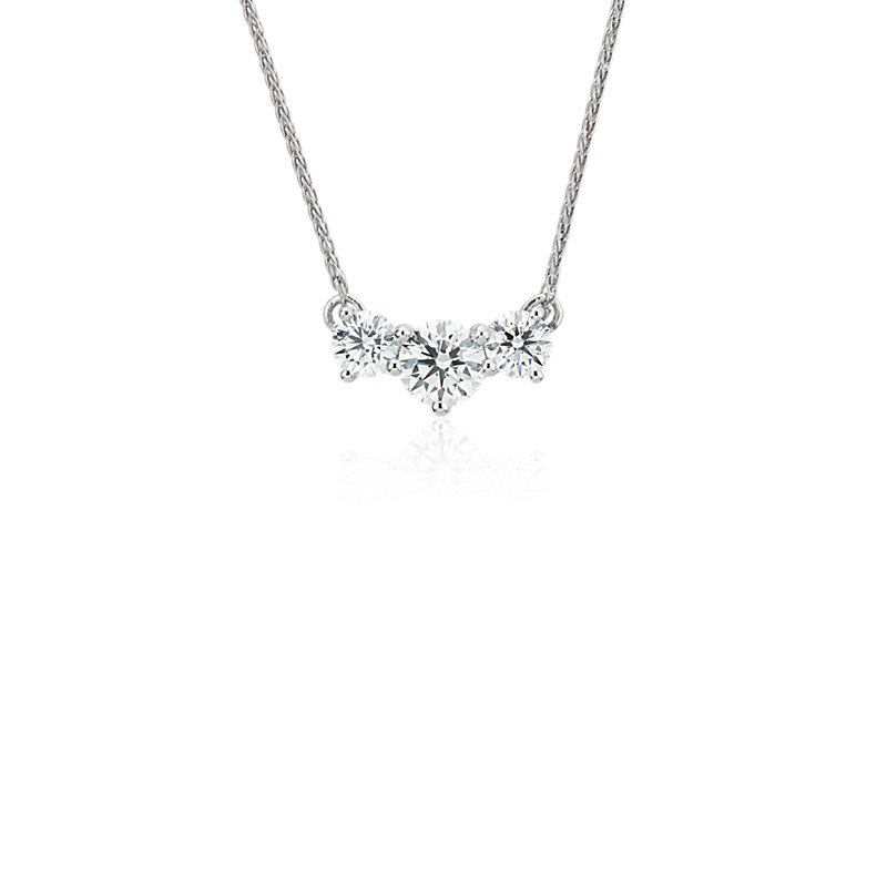 Blue Nile Signature Floating Diamond Three-Stone Pendant in Plati