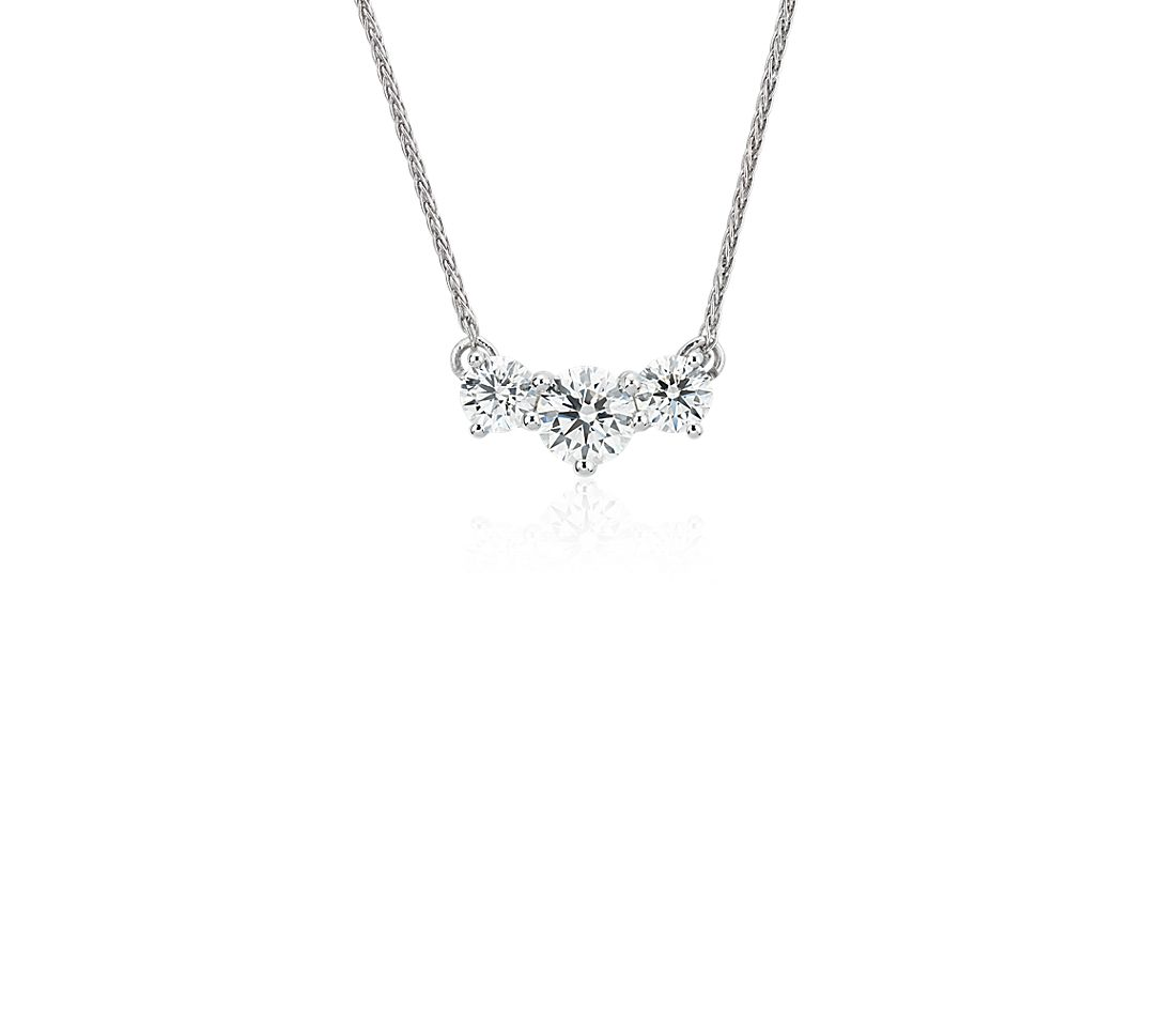 Blue Nile Signature Diamond Floating Three-Stone Pendant in Platinum
