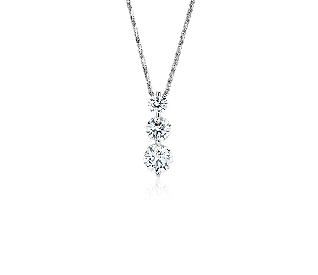 Blue Nile Signature Three-Stone Floating Diamond Drop Pendant in Platinum (1 1/5 ct. tw.)