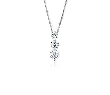 Blue Nile Signature Diamond Floating Three-Stone Drop Pendant in Platinum