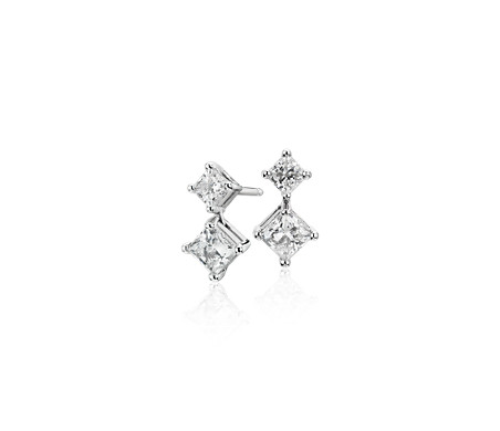 Blue Nile Signature Diamond Two-Stone Earrings in Platinum (1 ct. tw.)