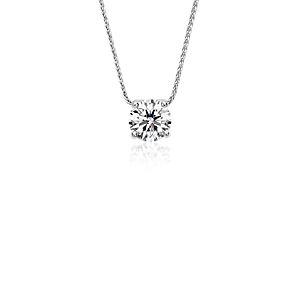 Colgante con solitario de diamante flotante exclusivo de Blue Nile en platino (1,25 qt. total)