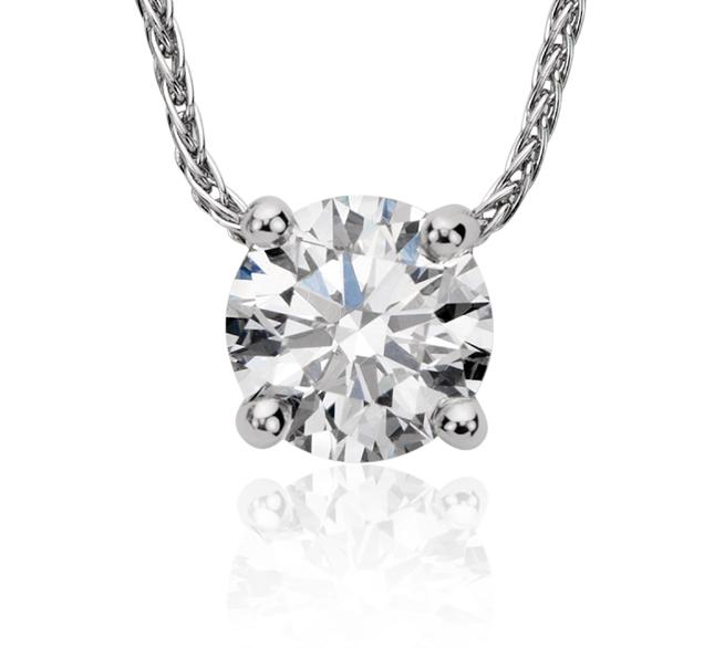 Colgante con solitario de diamante flotante exclusivo de Blue Nile en platino (0,80 qt total)