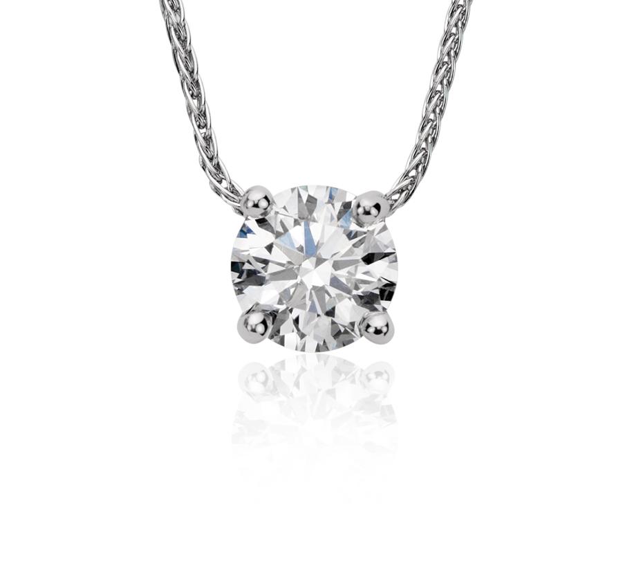 Pendentif solitaire diamant flottant Blue Nile Solitaire en platine (.60 ct. pt.)