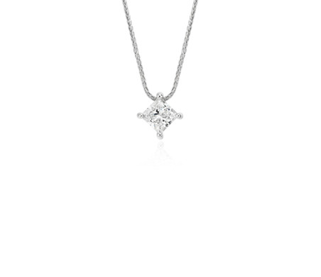 Blue Nile Signature Princess-Cut Floating Diamond Solitaire Pendant in Platinum (3/4 ct. tw.)