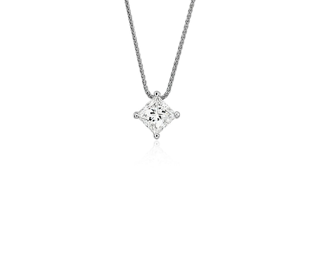 Blue Nile Signature Princess Cut Floating Diamond Solitaire Pendant in Platinum