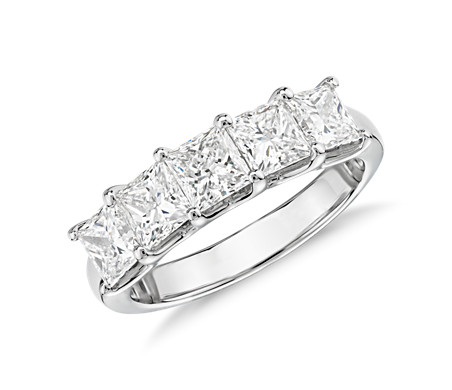 Blue Nile Signature Five-Stone Princess-Cut Diamond Ring in Platinum (2 ct. tw.)