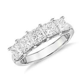 NEW Blue Nile Signature Five-Stone Princess-Cut Diamond Ring in Platinum (2 ct. tw.)