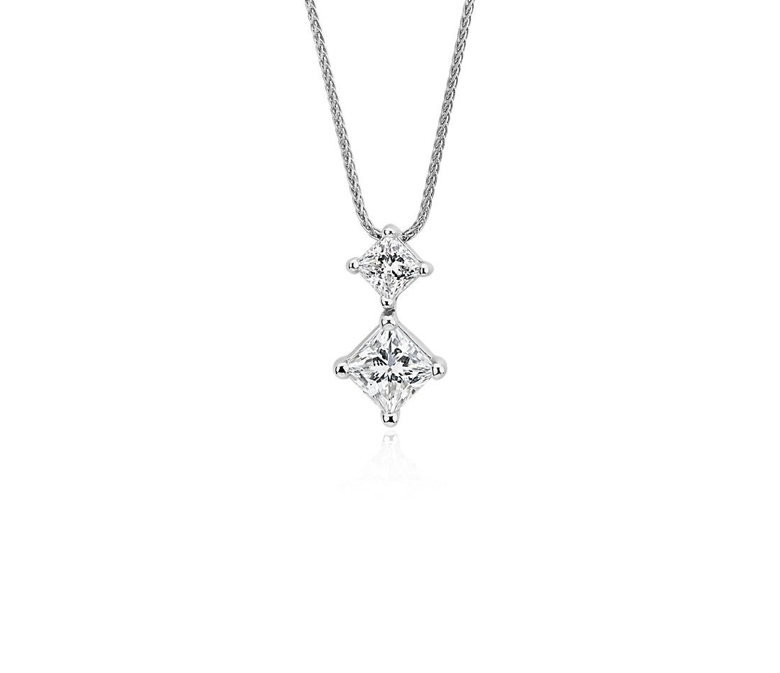 Blue Nile Signature Princess-Cut Two Stone Floating Pendant in Platinum