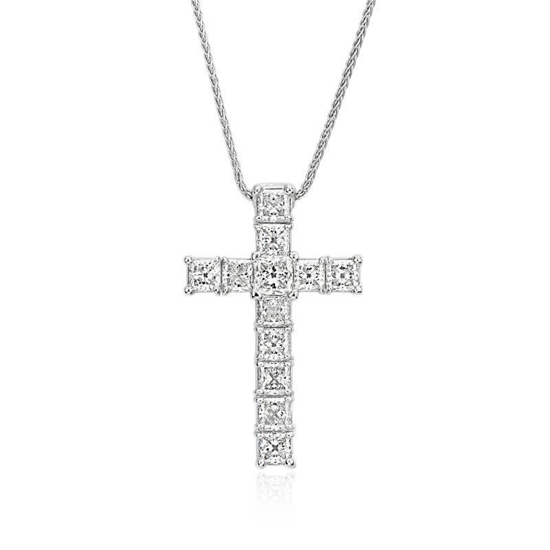 Blue Nile Signature Princess-Cut Diamond Cross Pendant in Platinu