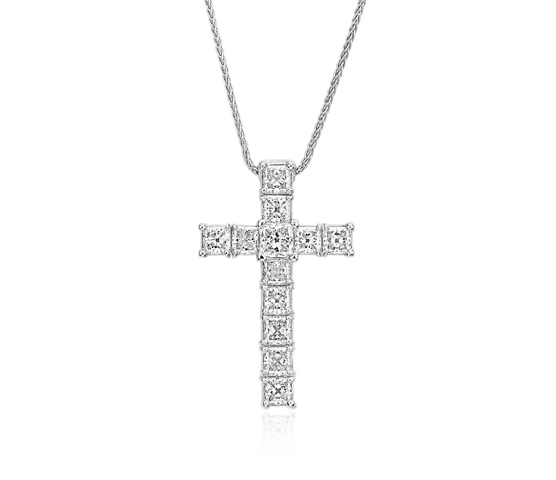 Blue Nile Signature Princess-Cut Diamond Cross Pendant in Platinum (2 ct. tw.)