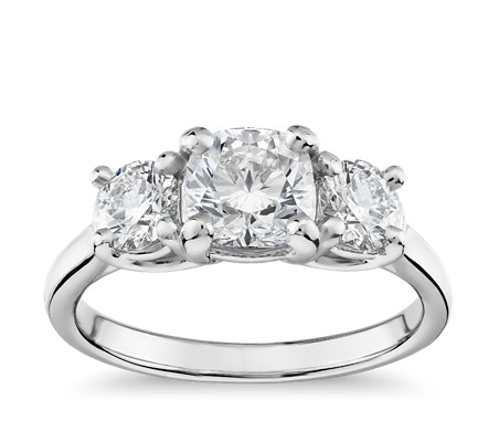 Blue Nile Signature Ideal Three-Stone Duchess Diamond Ring in Platinum
