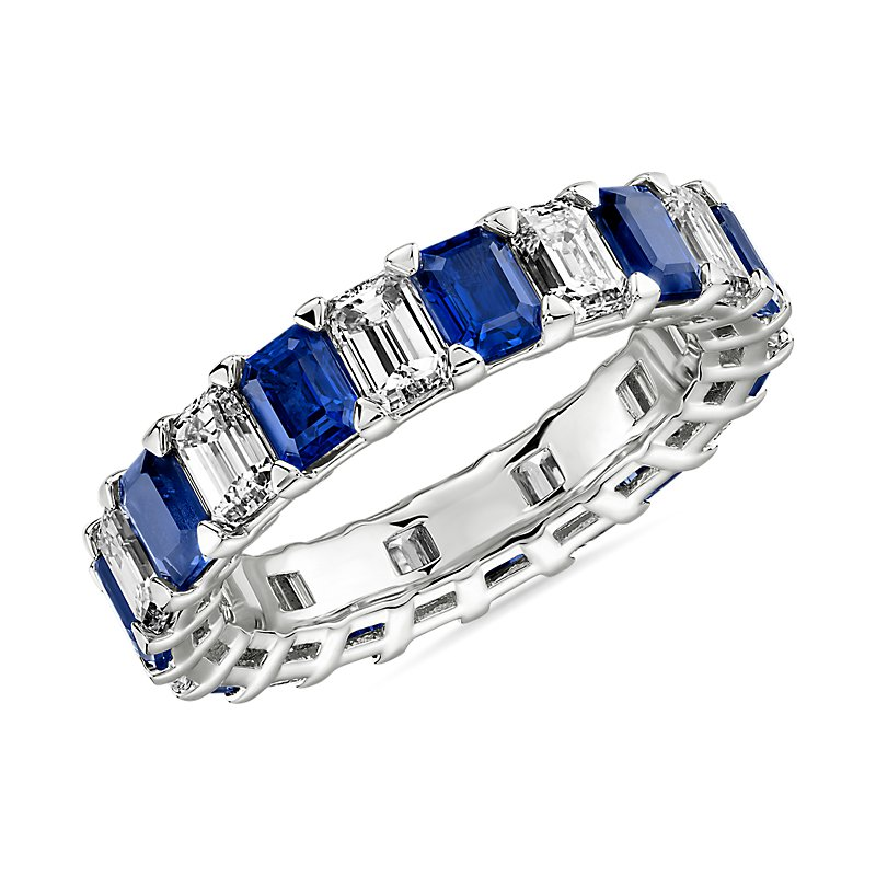 Blue Nile Studio Seamless Sapphire and Diamond Emerald-Cut Eterni