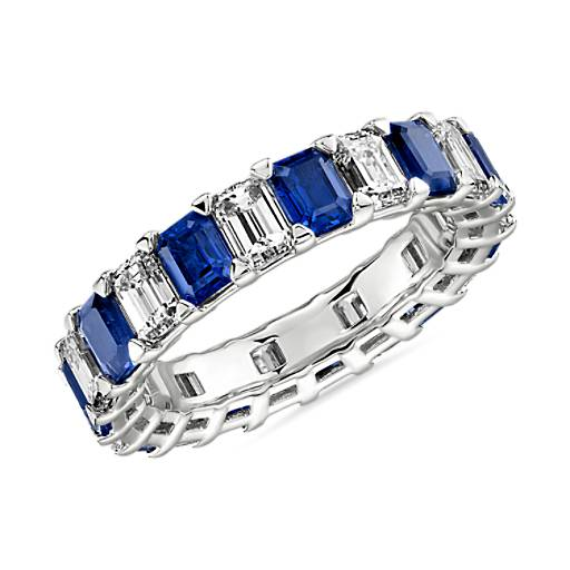 Blue Nile Studio Seamless Sapphire And Diamond Emerald-Cut