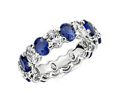 NEW Blue Nile Studio Alternating Sapphire and Diamond Oval-Cut Eternity Band in Platinum