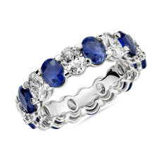 Blue Nile Studio Seamless Sapphire and Diamond Oval-Cut Eternity Band in Platinum- G/VS2 (2 1/2 ct. tw.)