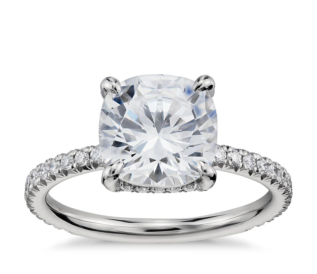 blue nile studio cushion cut petite french pav crown diamond engagement ring in platinum - Crown Wedding Rings