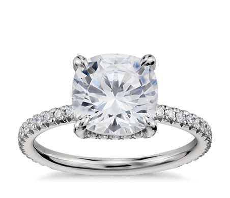 Blue Nile Studio Cushion Cut Petite French Pavé Crown Diamond Engagement Ring in Platinum (2/5 ct. tw.)