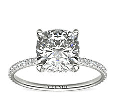 Blue Nile Studio Cushion Cut Petite French Pavé Crown Diamond Engagement Ring in Platinum (1/3 ct. tw.)