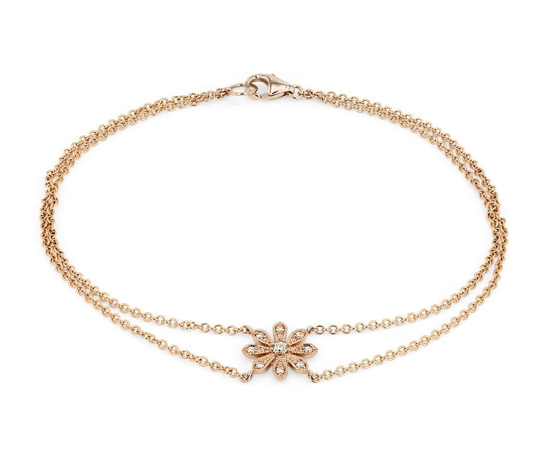 Blue Nile Studio Petite Diamond Daisy Flower Bracelet in 14k Rose Gold