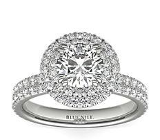 Blue Nile Studio Double Halo Gala Diamond Engagement Ring in Platinum