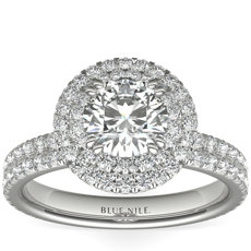 Blue Nile Studio Double Halo Gala Diamond Engagement Ring in Platinum (7/8 ct. tw.)