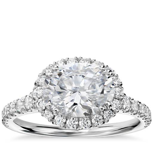 Blue Nile Studio East West Oval Halo Diamond Engagement