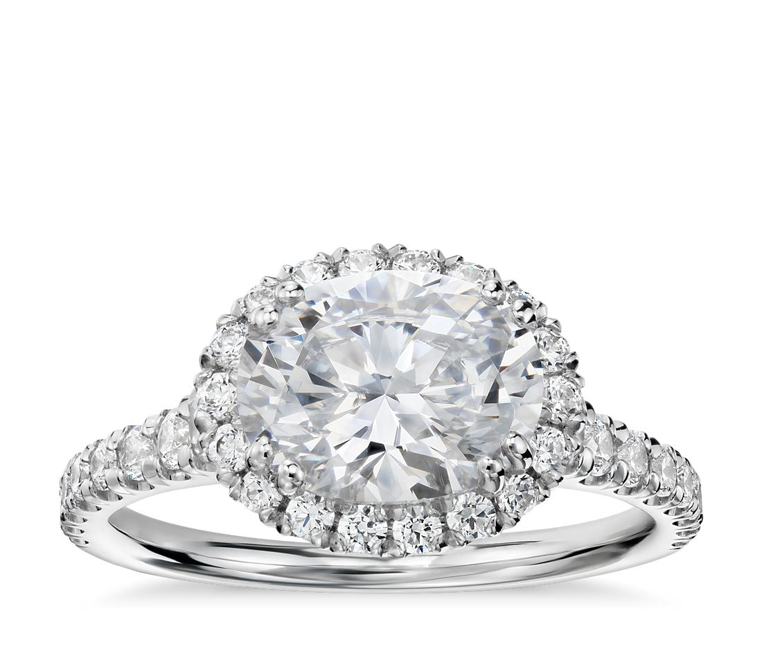 East West Oval Halo Diamond Engagement Ring