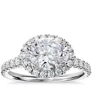 Blue Nile Studio East-West Oval Halo Diamond Engagement Ring in Platinum