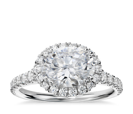 Blue Nile Studio East-West Oval Halo Diamond Engagement Ring in Platinum