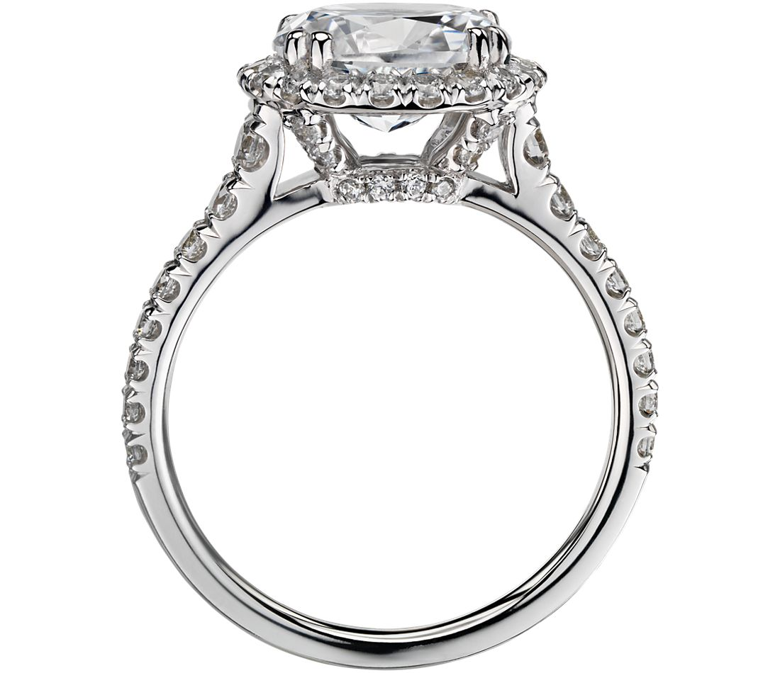 Blue Nile Studio East-West Oval Halo Diamond Engagement