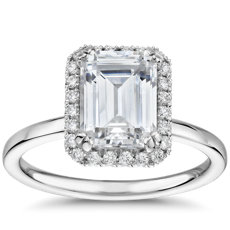 Blue Nile Studio Simple Emerald-Cut Halo Diamond Engagement Ring in Platinum (1/6 ct. tw.)