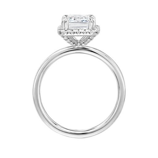 Blue Nile Studio Simple Emerald-Cut Halo Diamond Engagement Ring