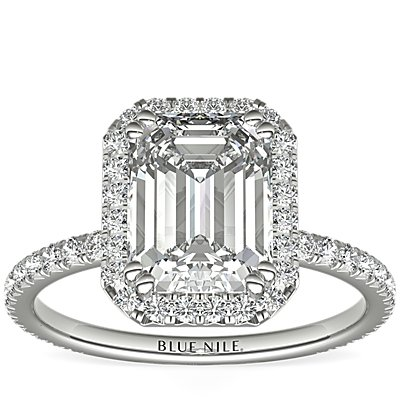 Blue Nile Studio Emerald Cut Heiress Halo Diamond Engagement Ring in Platinum (1/2 ct. tw.)