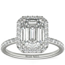 Blue Nile Studio Emerald Cut Heiress Halo Diamond Engagement Ring in Platinum