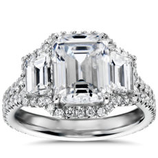 Blue Nile Studio Emerald Three Stone Halo Diamond Engagement Ring in Platinum (1.25 ct. tw.)