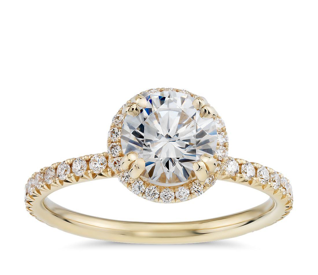 Blue Nile Studio Heiress Halo Diamond Engagement Ring in 18k Yellow Gold 86297f35ee99