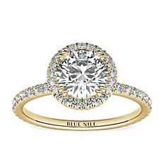 Blue Nile Studio Heiress Halo Diamond Engagement Ring in 18k Yellow Gold
