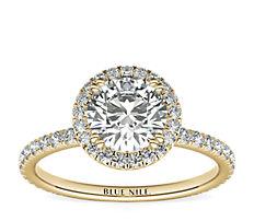18k 黃金 Blue Nile Studio 女繼承人光環鑽石訂婚戒指